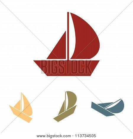 Sail Boat icon  set. Isometric effect