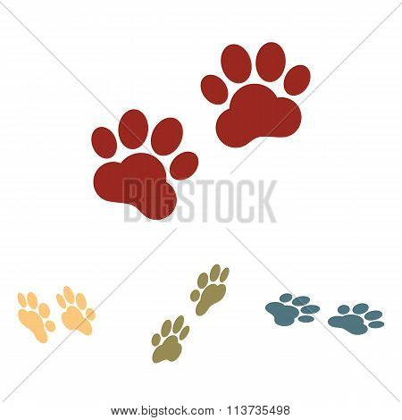 Animal Tracks. Vector illustration  set. Isometric effect