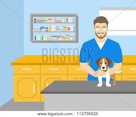Man Veterinarian Holding A Dog In Veterinary Office
