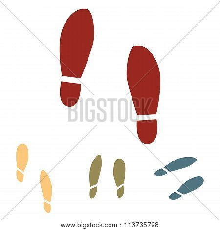 Imprint soles shoes icon  set. Isometric effect