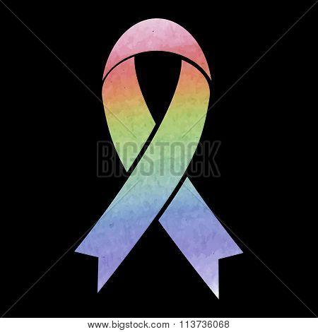 Black awareness ribbon. Watercolor effect