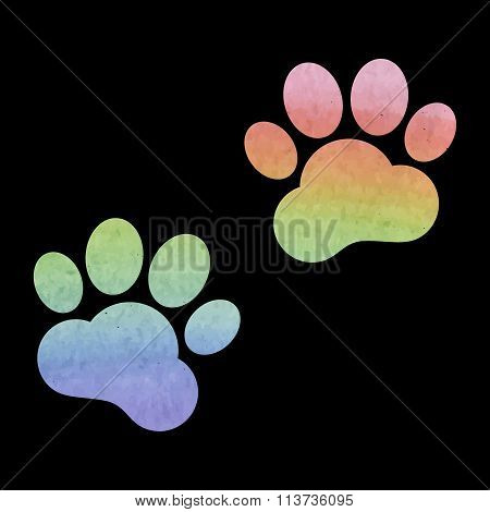 Animal Tracks. Vector illustration. Watercolor effect