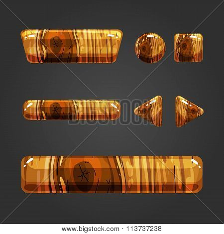 Set Of Wooden Button For Game Design