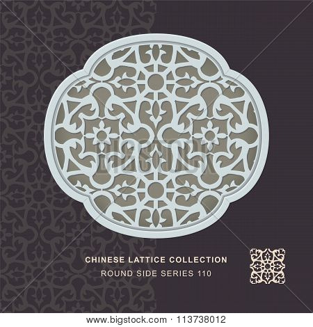 Chinese window tracery round side frame 110 round flower