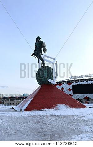 Football Stadium Spartak Opening Arena And A Monument To The Gladiator Spartacus In Moscow