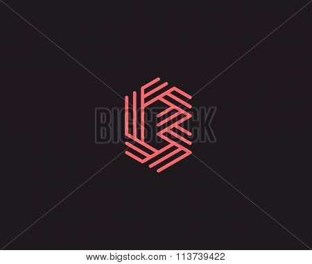 Abstract letter B logo design template. Line creative sign. Universal vector icon.