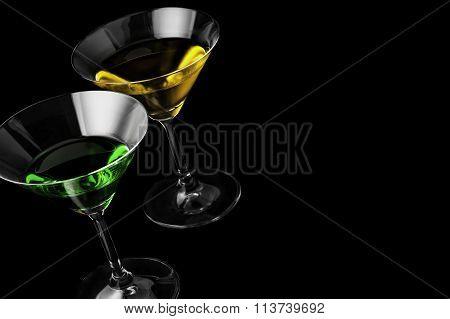 Martini glasses on black background in horizontal format