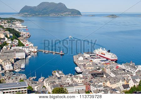 Norway, View Of The City Of Stavanger And Fjord