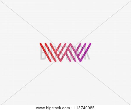 Abstract letter W logo design template. Line creative sign. Universal vector icon.