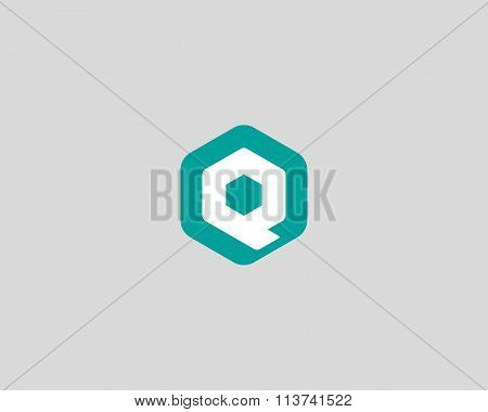 Abstract letter Q logo design template. Colorful creative hexagon sign. Universal vector icon.
