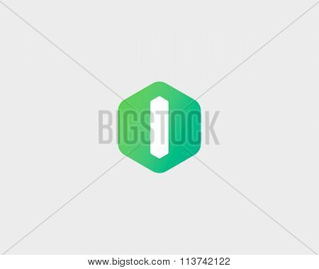 Abstract letter I logo design template. Colorful creative hexagon sign. Universal vector icon.