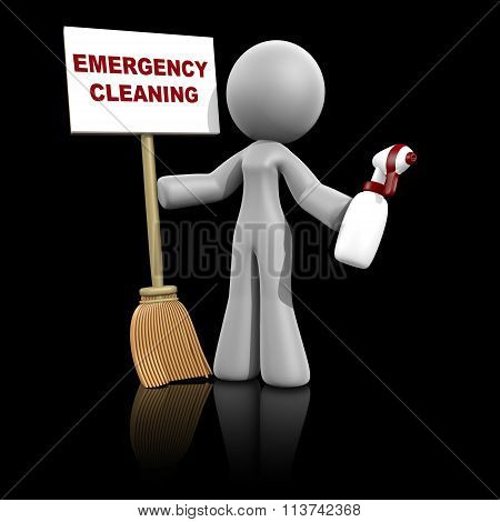 3D Lady Sign - Emergency Cleaning Services On Dark