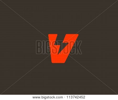 Abstract letter V logo. Dynamic unusual font. Universal fast speed fire moving quick energy icon. Fl