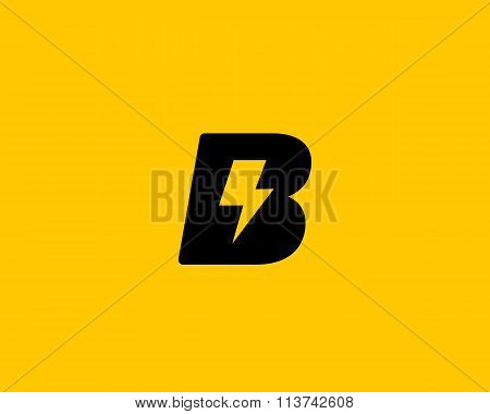 Abstract letter B logo. Dynamic unusual font. Universal fast speed fire moving quick energy icon. Fl