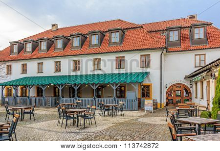 Prague, Czech Republic - January 15 2015: Traditional Czech restaurant in the district of the Lesser Town (Mala Strana)