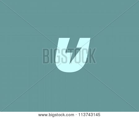 Abstract letter U logo. Dynamic unusual font. Universal fast speed fire moving quick energy icon.