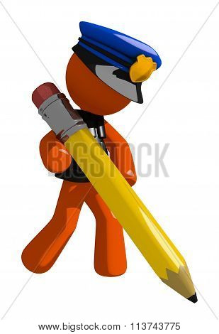 Orange Man Police Officer Writing With Giant Pencil
