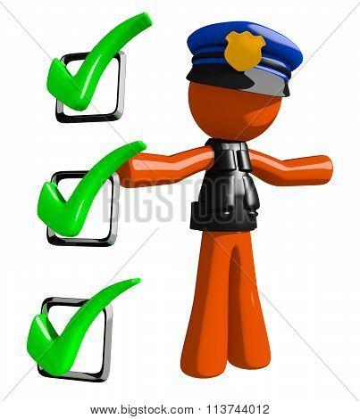 Orange Man Police Officer Presenting Green Checkmark List