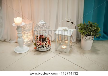 Decorative Candle Holders At The Wedding