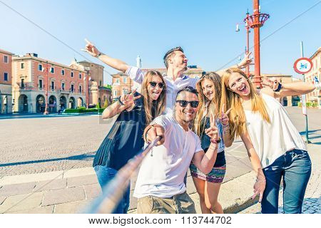 Group Of People Taking Selfie