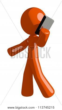 Orange Man Talking On Pda Phone
