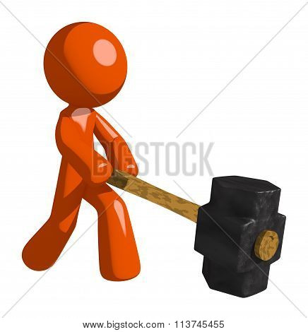 Orange Man Hitting With Sledge Hammer