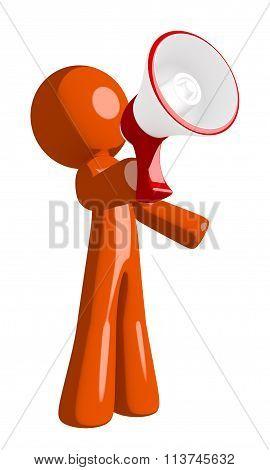 Orange Man Speaking In Megaphone  Or Bullhorn