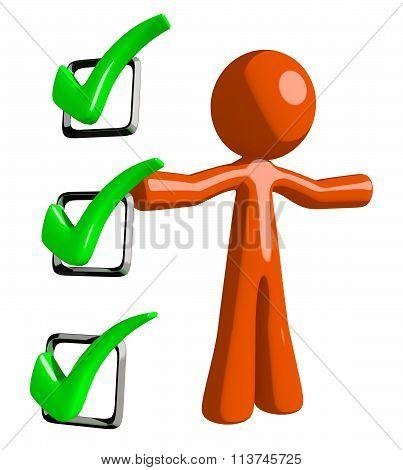 Orange Man Presenting Green Checkmark List