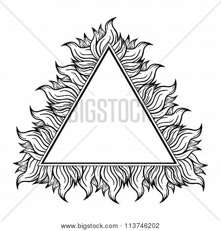 Black white triangle frame with spurts of flame. Vector illustration.