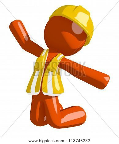 Orange Man Construction Worker  Jumping Or Kneeling