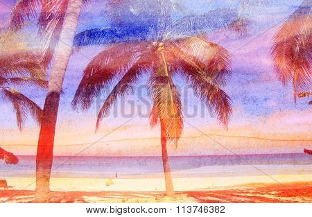 Watercolor Retro Palms