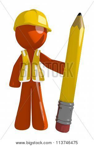 Orange Man Construction Worker  Holding Giant Pencil