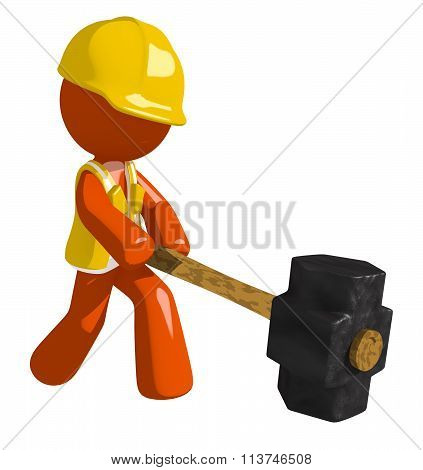 Orange Man Construction Worker  Hitting With Sledge Hammer