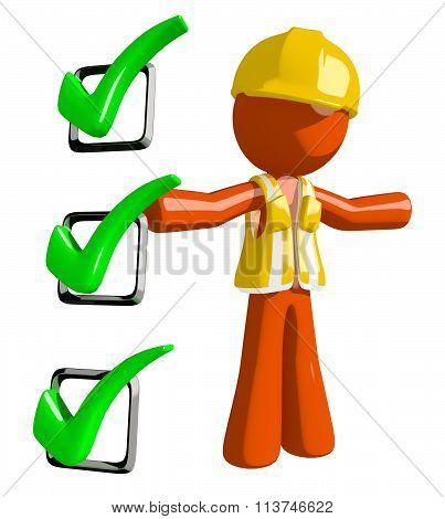 Orange Man Construction Worker  Presenting Green Checkmark List