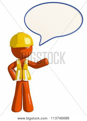 Orange Man Construction Worker  Word Bubble