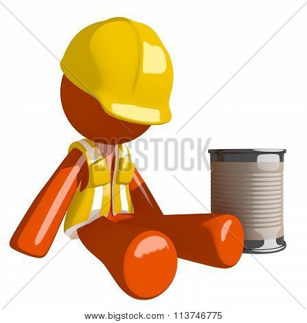 Orange Man Construction Worker  Beggar