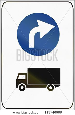Road Sign Used In Italy - Mandatory Direction For Trucks