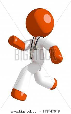 Orange Man Doctor  Running Or Chasing Or Escaping