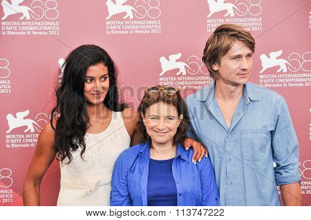 Actors Stanislas Merhar Aurora Marion and Chantal Akerman