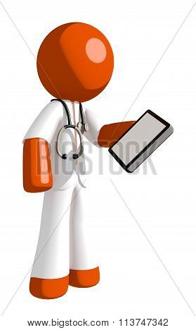 Orange Man Doctor Holding Pda