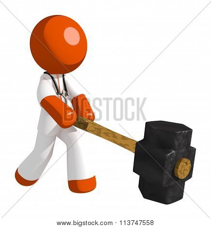 Orange Man Doctor Hitting With Sledge Hammer