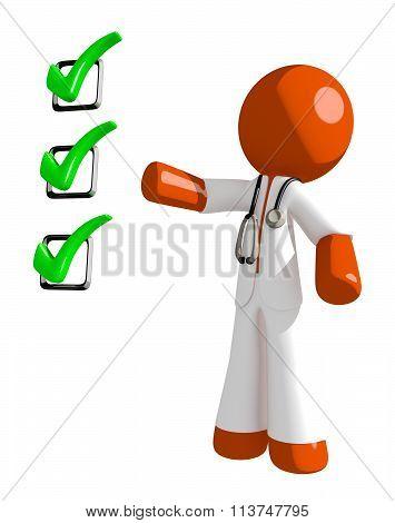 Orange Man Doctor Pointing Green Checkmark List
