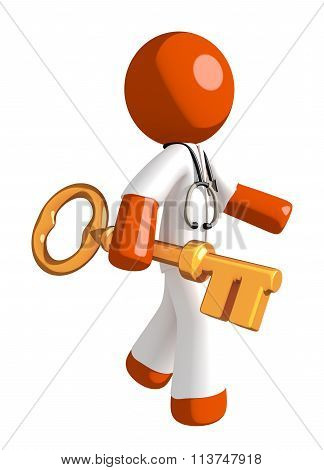 Orange Man Doctor Walking With Gold Key