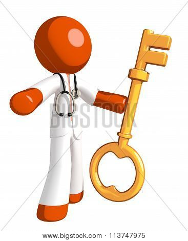 Orange Man Doctor Holding Key