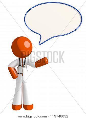 Orange Man Doctor Word Bubble