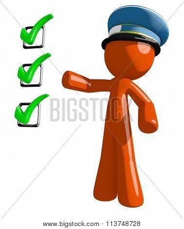 Orange Man Postal Mail Worker Pointing Green Checkmark List
