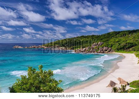 beautiful Grand Anse beach on La Digue island in Seychelles