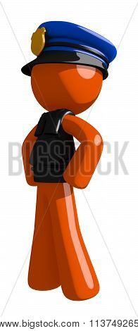 Orange Man Police Officer Hero Stance