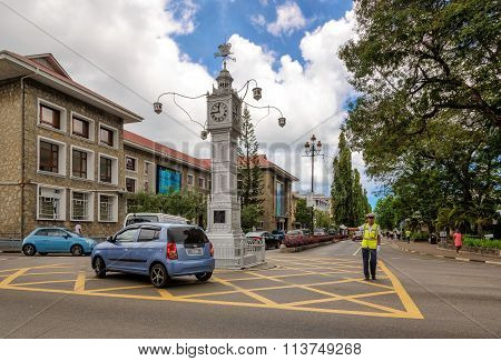 Victoria, Seychelles - November 14: Victoria on the Clock tower on November 14, 2015, Seychelles.