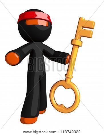 Orange Man Ninja Warrior Standing With Large Key